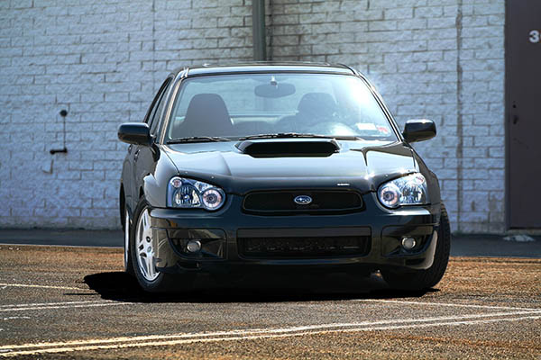 2004 wrx sedan front sharp contrast java black pearl