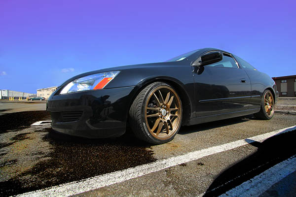 2003 accord slammed on 19 inch gold rims front corner wide angle photoshopped contrast and color