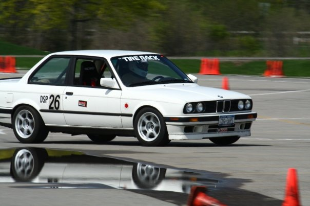 older white BMW at RIT SCCA FLR autocross 2008