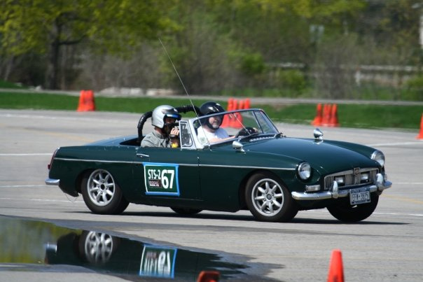 green MG at RIT SCCA FLR autocross 2008