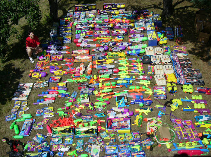 guy with collection of every super soaker ever made